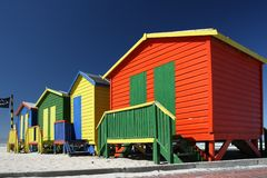 Colorful Beach Change Rooms Stock Photo