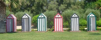 Colorful beach changing rooms. A picture of colorful beach changing rooms,in a summer beach in Athens Greece,in a summer day of august Royalty Free Stock Images
