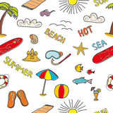 Colorful beach doodles Royalty Free Stock Photography