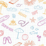 Colorful beach doodles Stock Image