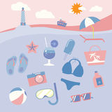 Colorful beach equipment icon set. Royalty Free Stock Image