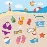 Colorful beach equipment icon set. Stock Photos