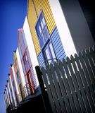 Colorful beach houses. Apartments with fence in front Stock Image