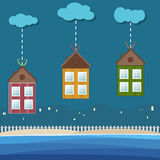 Colorful Beach Houses For Rent / Sale. Real Estate Concept Stock Photo