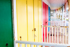Colorful beach hut doors. Old but colorful beach hut doors Stock Images