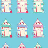 Colorful Beach Hut Vector seamless pattern Stock Images