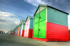 Colorful beach huts. Row of colorful beach huts, Hove, Brighton, East Sussex, England Royalty Free Stock Images
