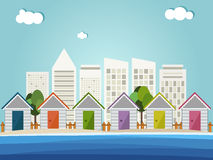 Colorful Beach Huts, Abstract Skylines Background Stock Image