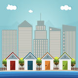 Colorful Beach Huts, Abstract Skylines Background Royalty Free Stock Photo