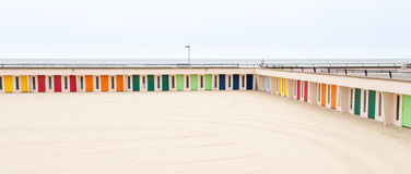 Colorful Beach Huts. At Le Touquet Paris Plage near Lille in France Royalty Free Stock Photography
