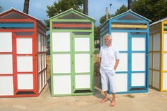 Colorful beach huts Stock Image