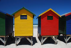 Colorful beach huts in Muizenberg, South Africa. Brightly colorful beach cabins in Muizenberg, Western Cape, South Africa Royalty Free Stock Photo