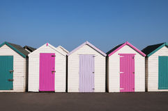 Colorful Beach Huts Stock Photos
