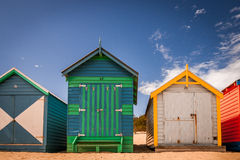 Colorful beach huts. A shot of colorful beach houses taken at Brighton's beach, Melbourne Australia Stock Photo