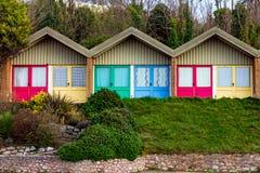 Colorful beach huts on south Devon coast stock photos