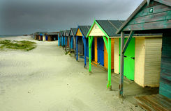 Free Colorful Beach Huts Under A Stormy Sky  Royalty Free Stock Photography - 32848707