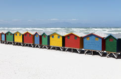 Colorful Beach Huts on White Sandy Beach Stock Image