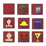 Colorful Beach Icons Set in Flat Style Stock Images