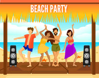 Colorful Beach Party Template. With dancing people in different clothing in flat style vector illustration Stock Photos
