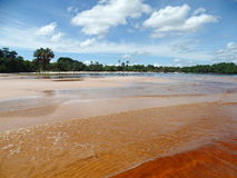 Colorful beach. Spectacular beach with variety of colors on the coast of the Canaima lagoon, Venezuela Royalty Free Stock Photo