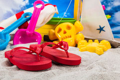 Colorful beach stuff with light background Royalty Free Stock Images