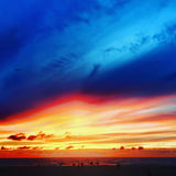 Colorful beach sunset. Dramatic and colorful subset at the beach Royalty Free Stock Image
