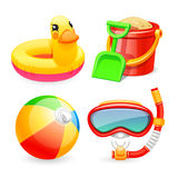 Colorful Beach Toys Icons Set Royalty Free Stock Photos