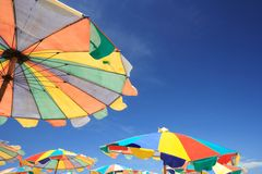 Colorful Beach Umbrella. Colorful Umbrella on the Beach at Khai Island, Phuket, Thailand royalty free stock images
