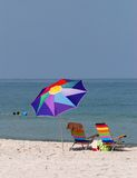 Colorful beach umbrella stock photography