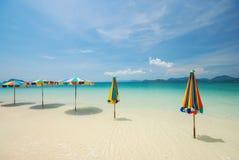Colorful beach umbrella Stock Photos
