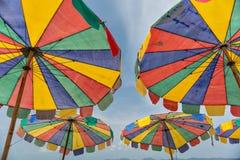 Colorful beach umbrella. On koh khai island beach phuket thailand royalty free stock image