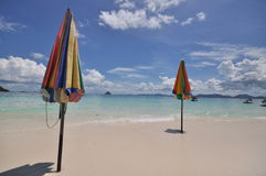 Colorful  beach umbrella. With nice cloud Stock Photography