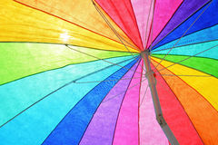 Colorful Beach Umbrella. A colorful sun umbrella useful as a background pattern Stock Photography