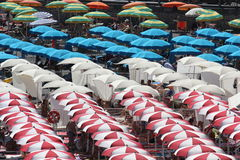 Colorful beach umbrellas on Amalfi Beach. Stock Image