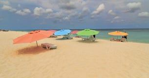 Colorful Beach Umbrellas in Aruba Royalty Free Stock Photo