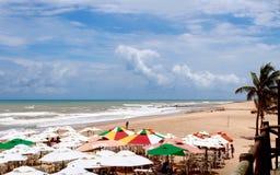 Colorful beach umbrellas Stock Photos