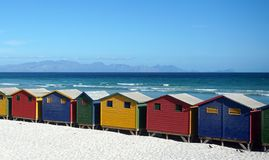 Colorful beachhouses, South Africa Cape Town Stock Photos