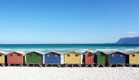 Colorful beachhouses, South Africa Cape Town Stock Photo