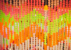 Colorful of bead curtain blur background Stock Images