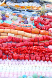 Colorful beads. Close up of the gemstone and coral beads Royalty Free Stock Photos
