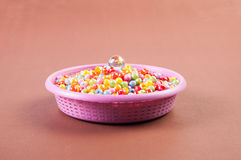 Colorful beads in the basket Royalty Free Stock Photo