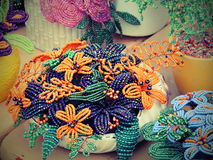 Colorful beads flowers Stock Images