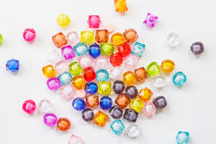 Colorful beads for handmade product. Colorful beads for handmade product on white background Stock Photography