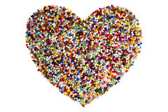 Colorful beads heart shape isolated Royalty Free Stock Photo