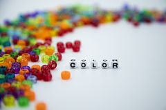 Colorful beads isolated on white background stock photos
