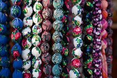 Colorful beads made of different fabrics Stock Photography