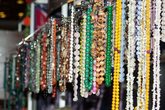Colorful beads and necklaces stock photo