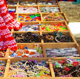 Colorful beads and other jewelry like necklaces bracelets Stock Images