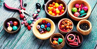 Colorful beads set. Colorful style beads for making jewelry.Fashion beads.Hobby Stock Photography