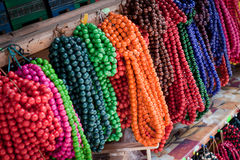 Colorful beads from wood Royalty Free Stock Images